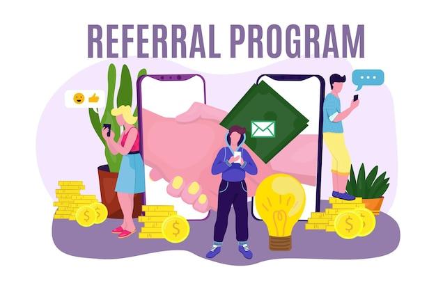 Referral program at mobile application, vector illustration. internet handshake from smartphone screen, business people character make partnership