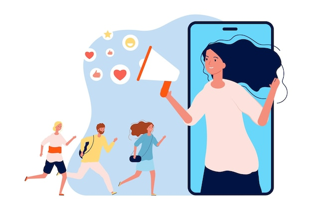 Реферальная программа. интернет-маркетинг, женщина с мегафоном порекомендовала друзьям. иллюстрация вектора информации социальных сетей. объявление мегафоном и уговоры на программу реферала