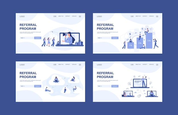Referral program web banner or landing page et. people working in referral marketing. business partnership, referral program strategy and development .