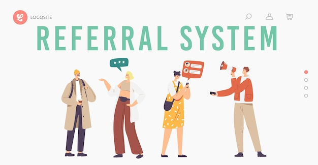 Referral system landing page template. salesman character shout to megaphone attracting audience to refer friends. people connected with internet and relationship network. cartoon vector illustration