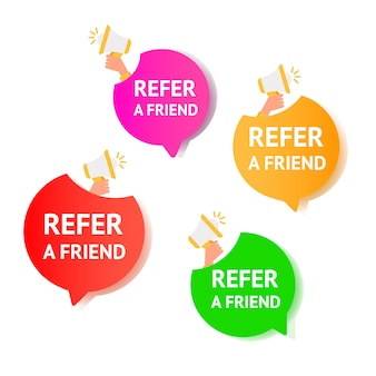 Referral trendy set of air gradient message bubbles with referral program text and microphone