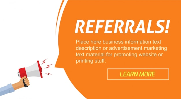 Referrals program marketing advertising web banner with loudspeaker information announcement