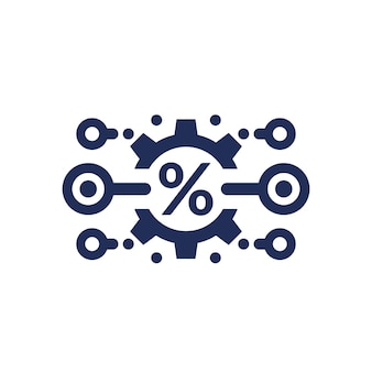 Refinancing, interest rate cut icon on white