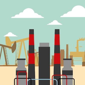 Refinery plant pump chimneys oil industry