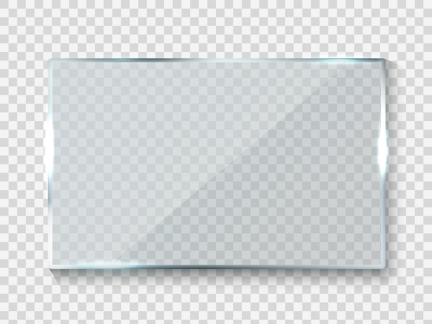 Reflecting glass banner. gloss rectangle reflection 3d panel texture or clear window on transparent background frame