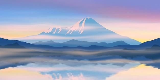 호수에서 캄차카 화산의 반영