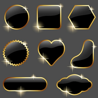 Reflective black buttons with gold frames set