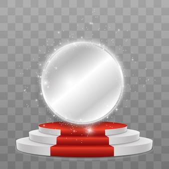 Reflective mirror shine with sparkles around over a podium.
