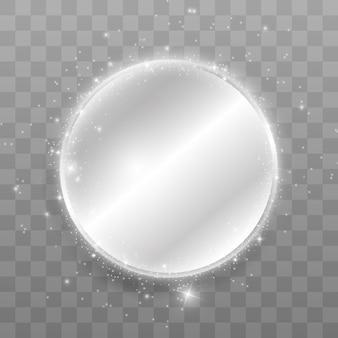 Reflective mirror shine with sparkles around.