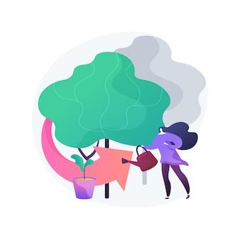 森林再生の抽象的な概念図。造林、森林再生プログラム、樹木の再植林、森林の自然回復、森林の保護、気候変動の緩和