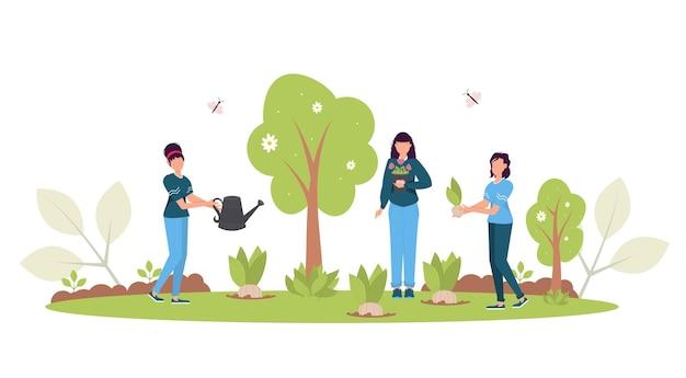 森林再生の概念。春の森の回復、植林、環境の日。キャラクター苗庭。