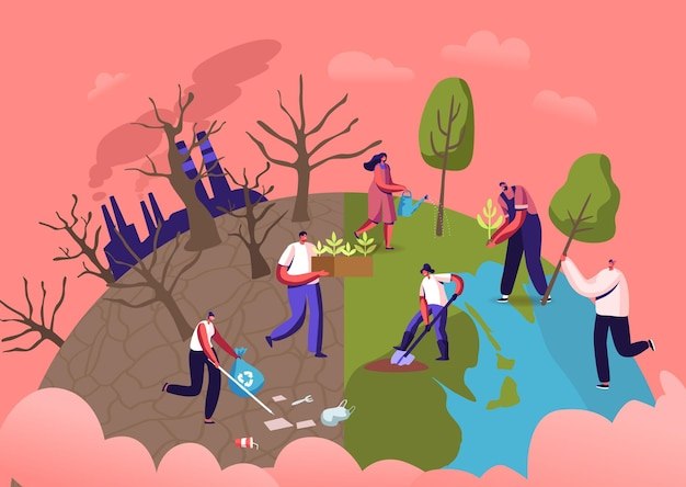 Reforestation and revegetation eco concept. characters pick up trash, planting seedlings and trees into soil in garden, save world, earth day, nature and ecology. cartoon people vector illustration