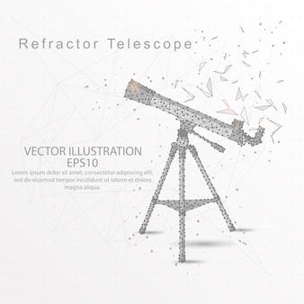 屈折計望遠鏡低ポリワイヤーフレームは、白い背景。