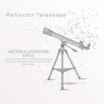 Refractor telescope low poly wire frame on white background.