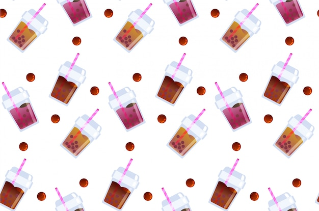Refresh bubble tea beverage seamless pattern