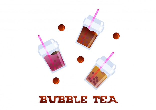 Refresh bubble tea trendy beverage vector