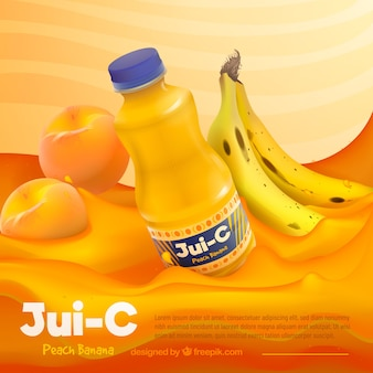 Refreshing fruit juice advertisement in realistic style