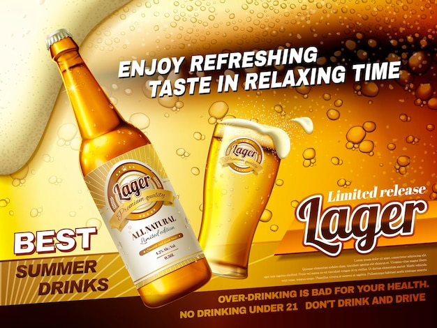Refreshing lager beer ads, best summer drink ads with glass beer cup and bottle isolated on fizzy beer surface in 3d illustration