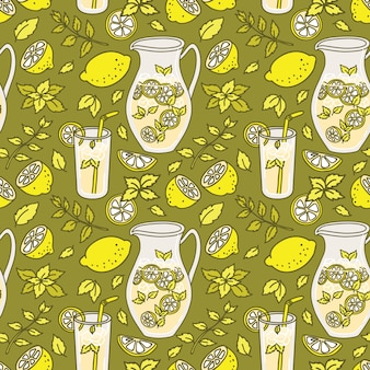 Refreshing lemonade seamless pattern