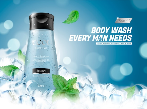 Refreshing men's body wash with frozen ice cubes and mint leaves on blue background in 3d illustration