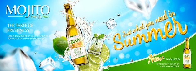 Refreshing mojito banner ads with sliced fruit and ice cubes on blue sky background
