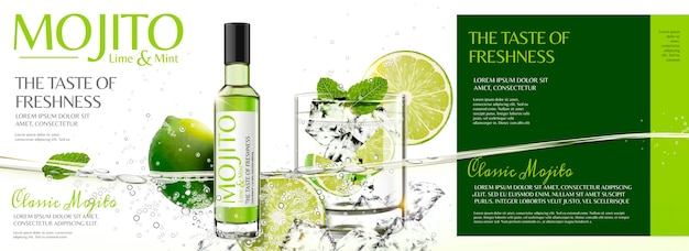 Refreshing mojito banner ads with sliced fruit and ice cubes floating in the water
