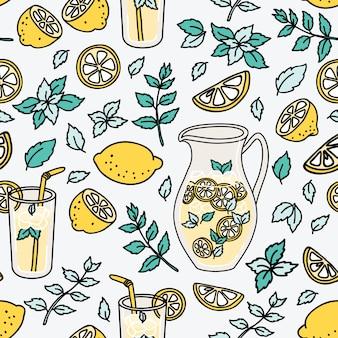 Refreshing seamless pattern with lemonade.