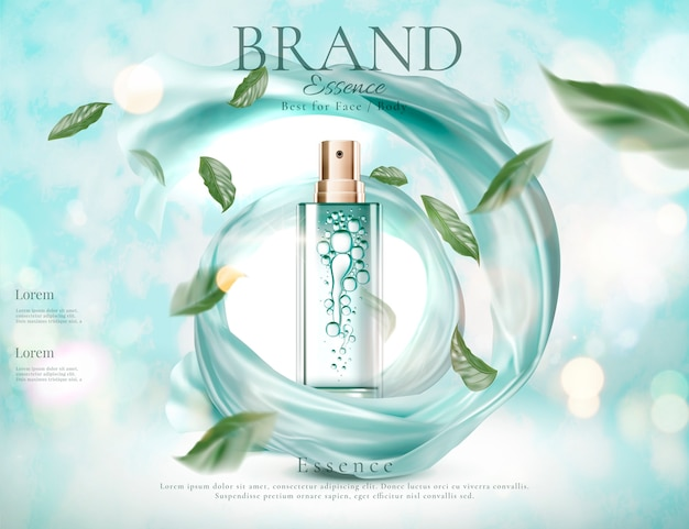 Refreshing skincare spray with flying green leaves and swirling satin  on light blue glitter background