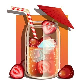 フルーツと氷でさわやかなソーダ