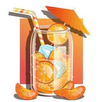 オレンジと氷でさわやかなソーダ