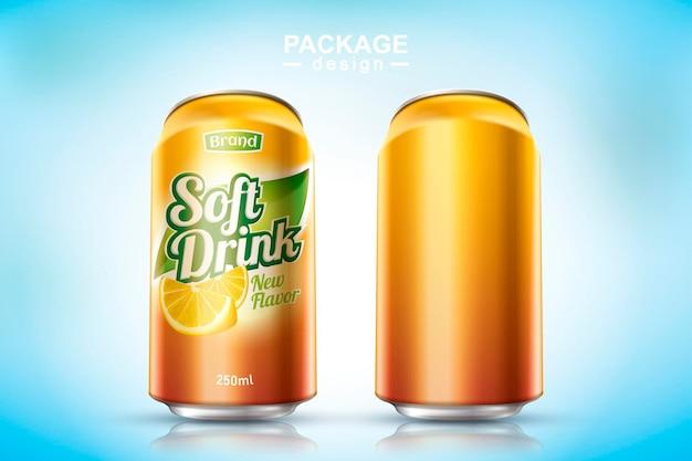 Освежающий металлический безалкогольный напиток может быть спроектирован на 3d-иллюстрации, одна пустая, а другая с рекламой