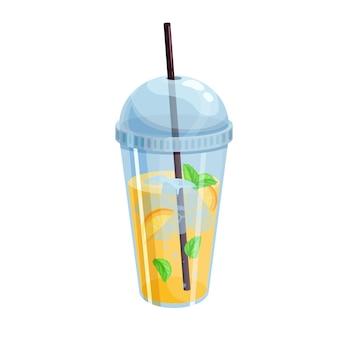 Освежающий летний цитрусовый напиток в пластиковом стаканчике для дизайнерского уличного кафе.