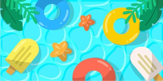 さわやかな夏のプールパーティー落書きイラスト