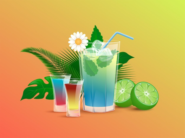 Refreshment alcoholic drinks with lime ice cubes straws and tropical