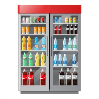 Refrigeration showcase with drinks in colorful bottles in flat style.
