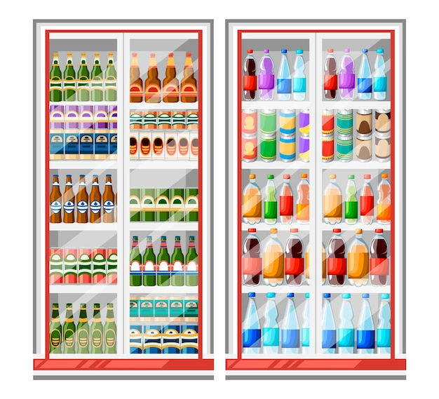 Refrigerator for drinks illustration