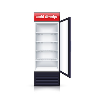 Refrigerator empty open realistic illustration
