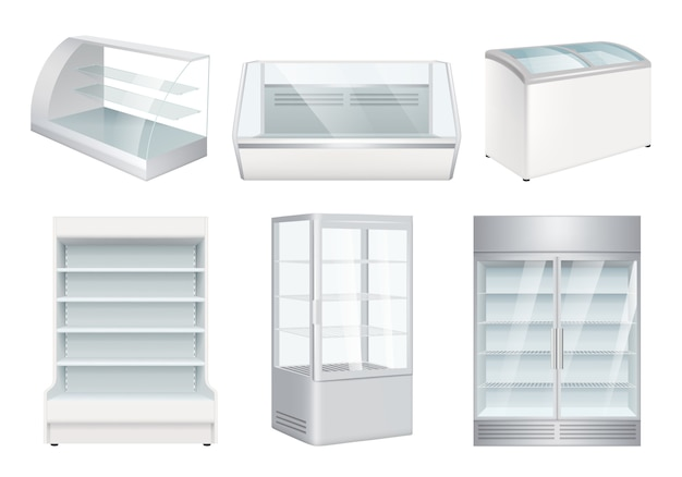 Refrigerator empty. supermarket retail equipment realistic refrigerators for store