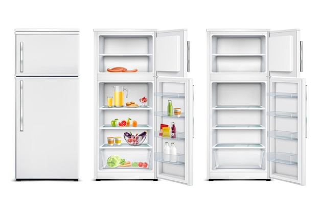 Refrigerator fridge realistic set of isolated cold storage units with products open and closed door