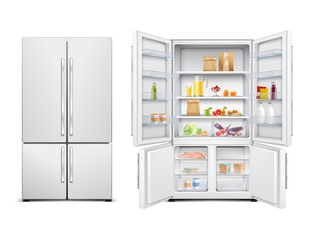 식품으로 채워진 두 개의 문이있는 큰 가족 냉장고의 냉장고 냉장고 현실적인 세트