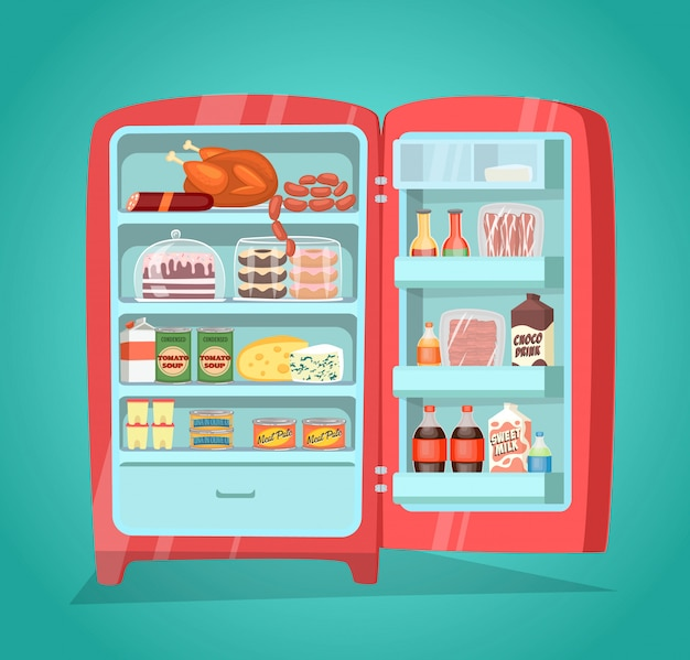 Refrigerator full of food in flat style