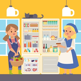 Refrigerator full of food illustration. female farmer characters standing near open cooler holding milk and basket with fruits and vegetables. meat and fish on shelves.