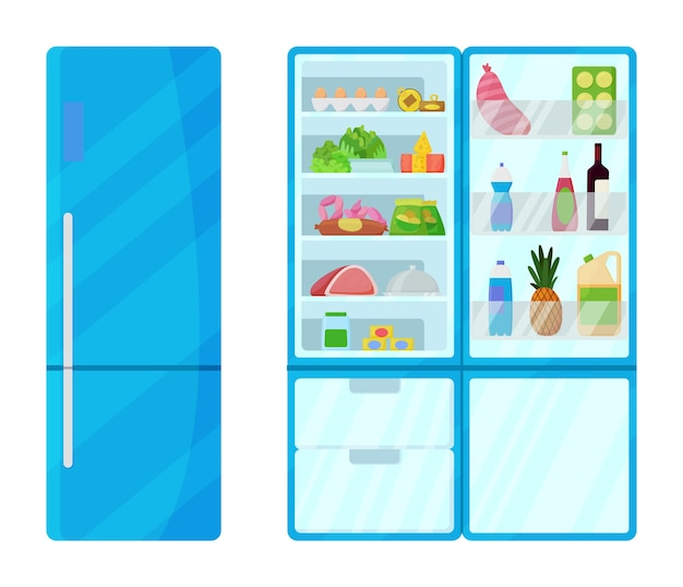 Refrigerator with food illustration