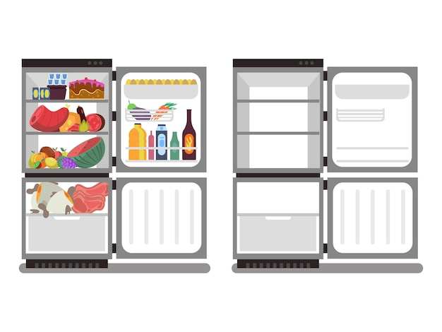 Refrigerators filled with food and empty