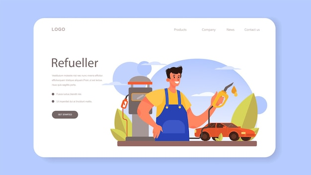 Refueler web banner or landing page. gas station worker in uniform working with a filling gun. man pouring fuel into car in petroleum station. isolated vector illustration