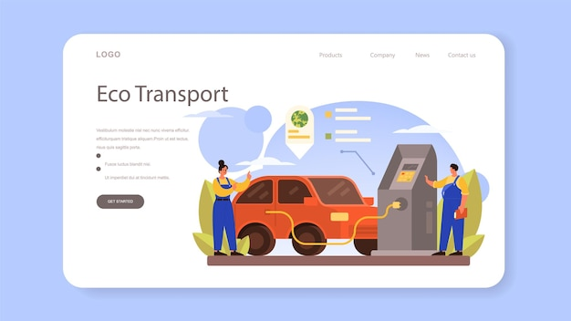 Refueler web banner or landing page. isolated vector illustration