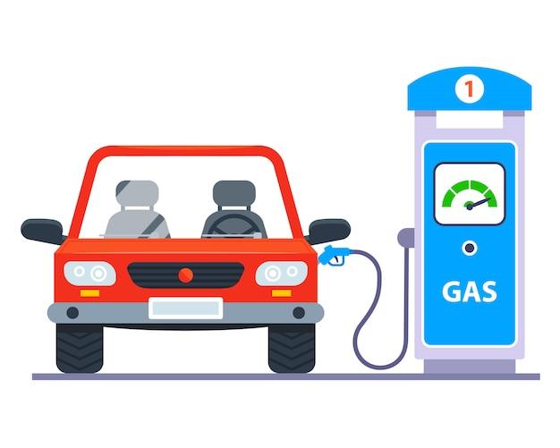 ガソリンスタンドでガソリンを車に給油します。 Premiumベクター