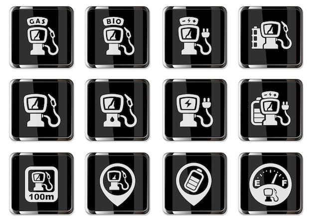 블랙 크롬 버튼에 자동차 스테이션 픽토그램을 급유. 사용자 인터페이스 디자인을 위한 벡터 아이콘 세트