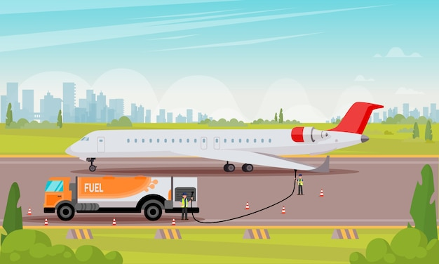 Refueling passenger aircraft flat illustration.