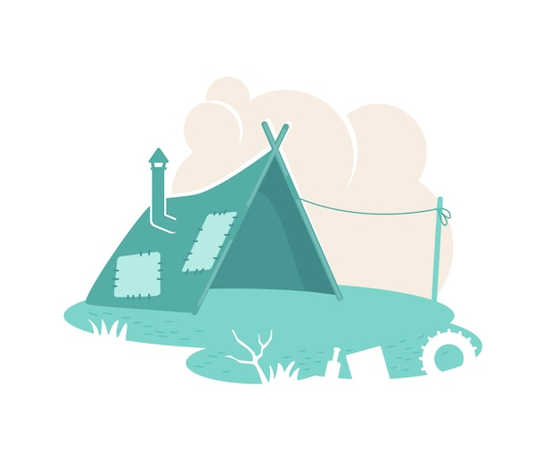 Refugee camp tent    banner, poster. dwelling in slum. poor people settlement  illustration on cartoon background. temporary shelter patch, colorful  element